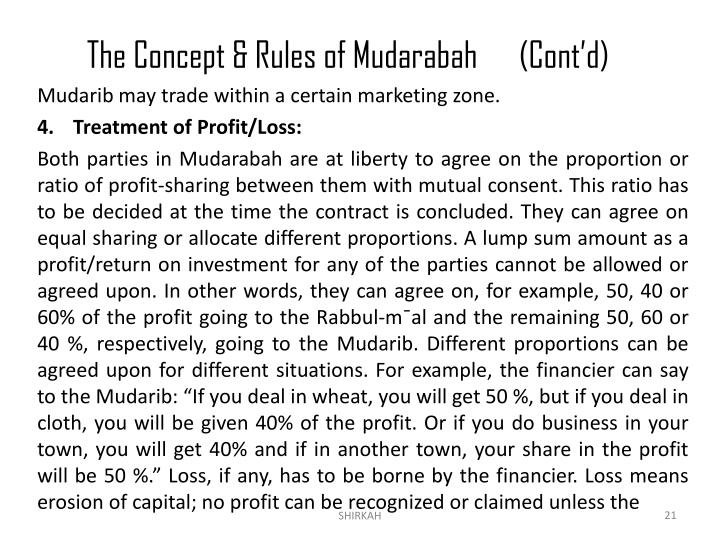 The Concept & Rules of Mudarabah(Cont'd)