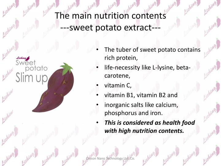 The main nutrition contents