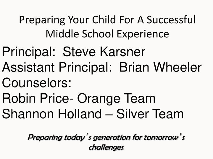 Preparing your child for a successful middle school experience