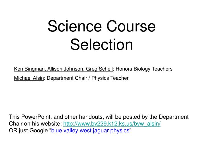 science course selection n.