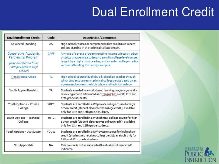 Dual enrollment credit1
