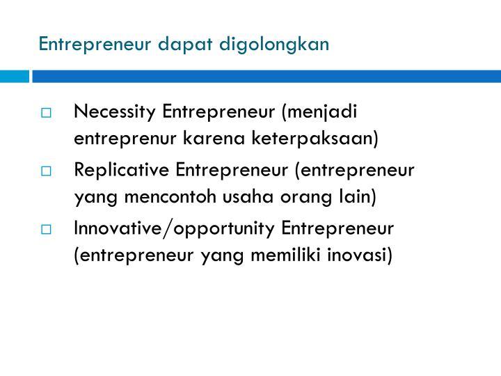 Entrepreneur dapat digolongkan