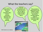 what the teachers say