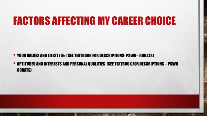 Factors affecting my career choice