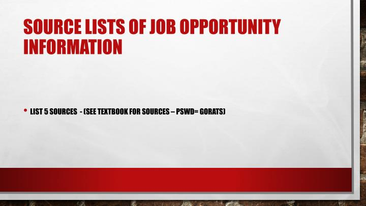 Source lists of job opportunity information