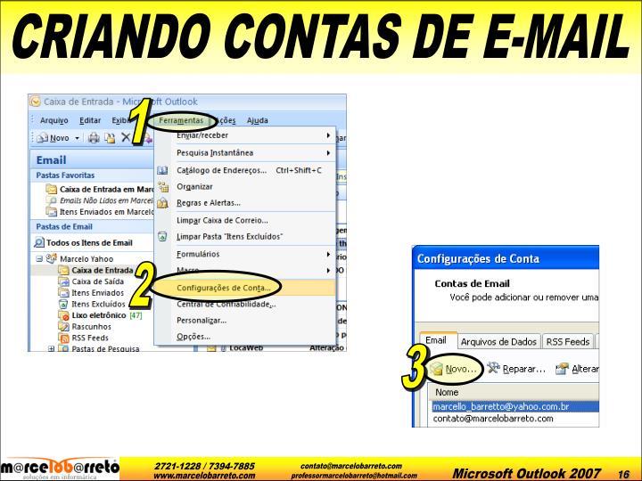 CRIANDO CONTAS DE E-MAIL