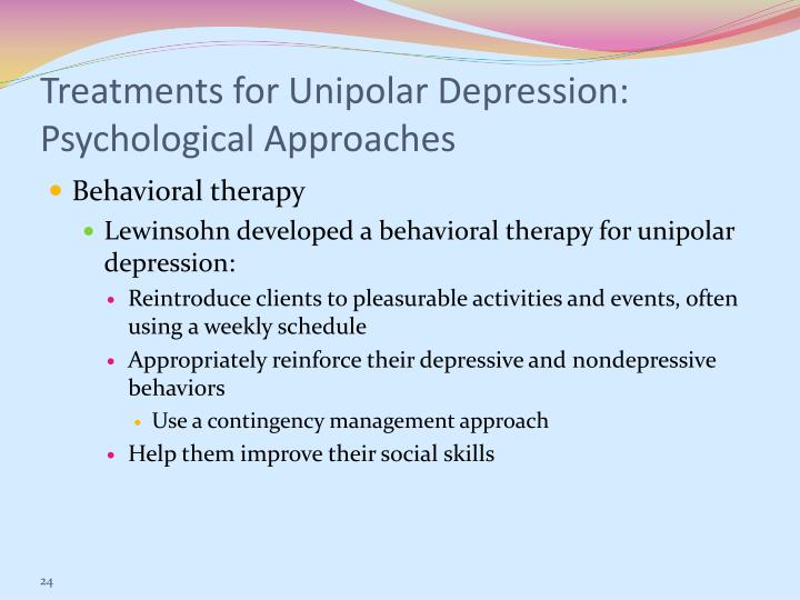 Treatments for Unipolar Depression: Psychological Approaches