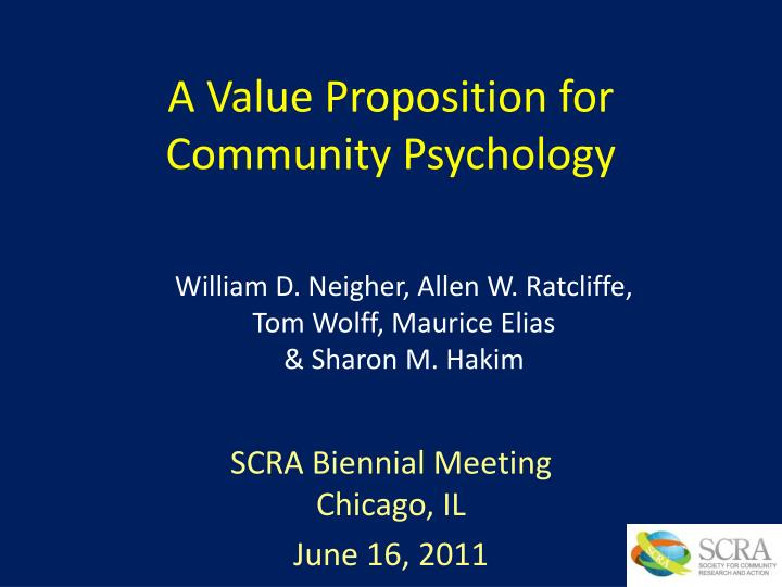 a value proposition for community psychology n.