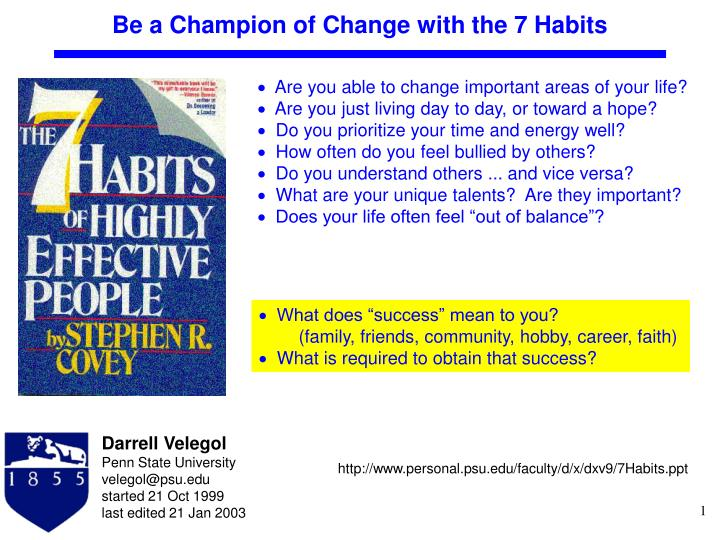 be a champion of change with the 7 habits n.