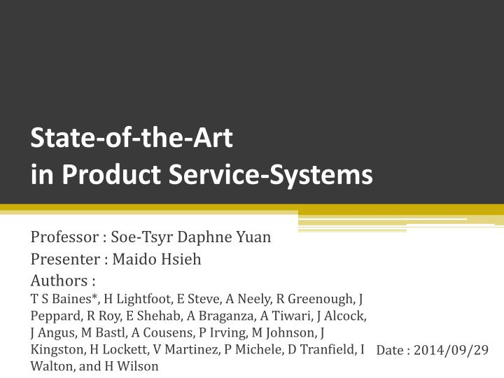 state of the art in product service systems n.