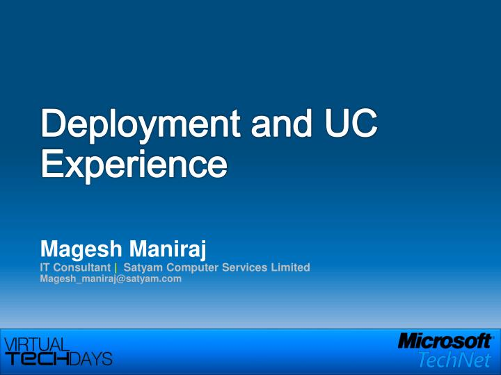 deployment and uc experience n.