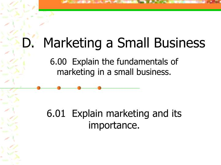 d marketing a small business n.