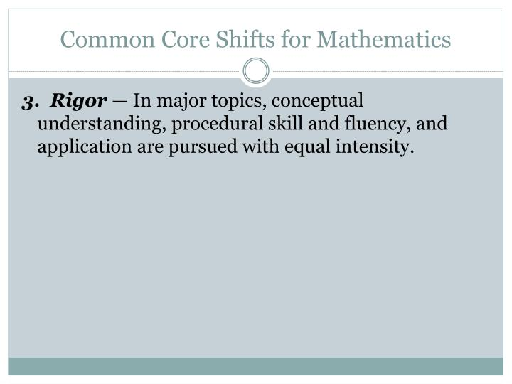 Common Core Shifts for Mathematics