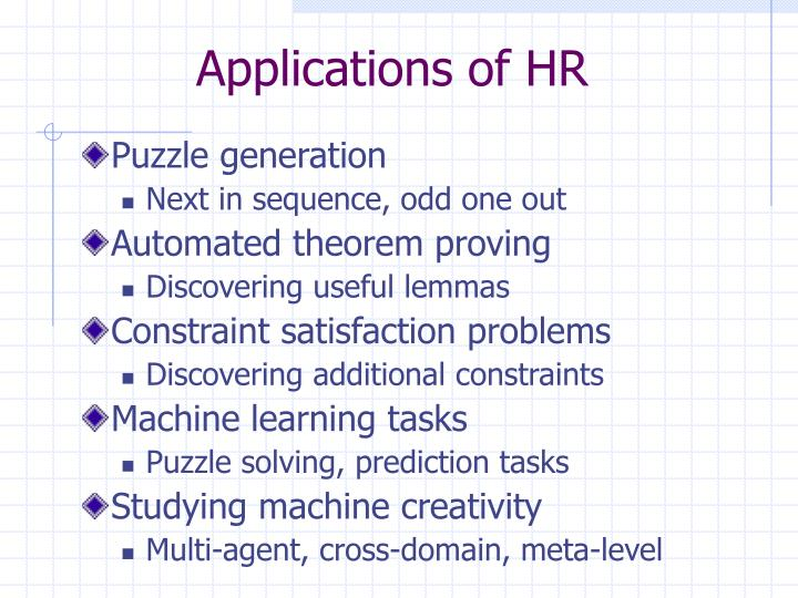 Applications of HR