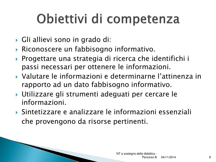 Obiettivi di competenza