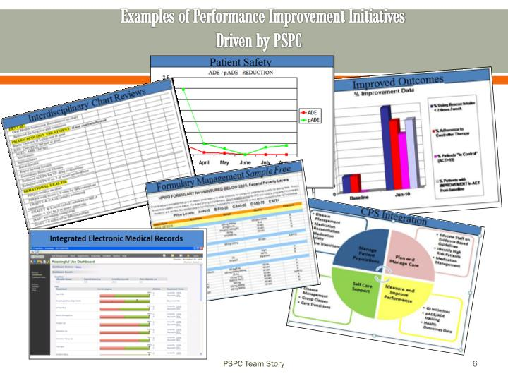 Examples of Performance Improvement Initiatives