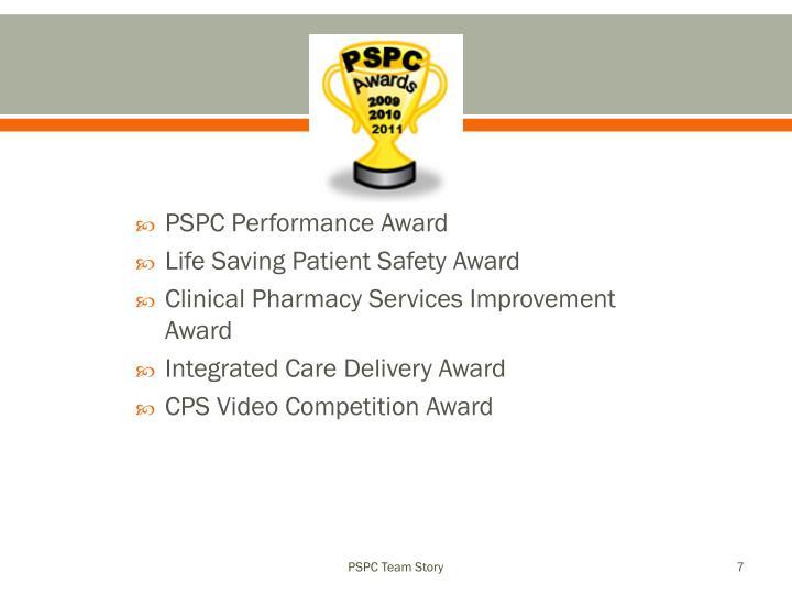 PSPC Performance Award
