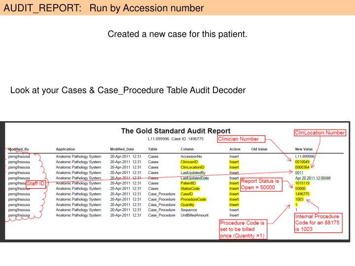 AUDIT_REPORT:   Run by Accession number