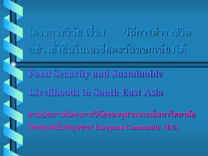 food security and sustainable livelihoods in south east asia n.