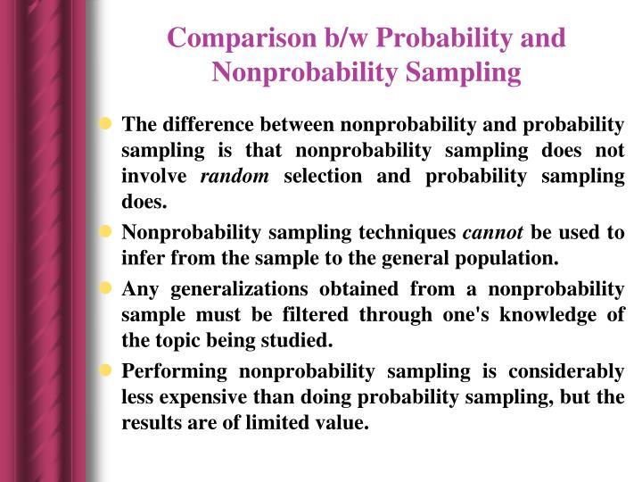Comparison b/w Probability and  Nonprobability Sampling