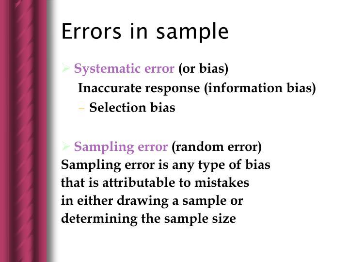 Errors in sample