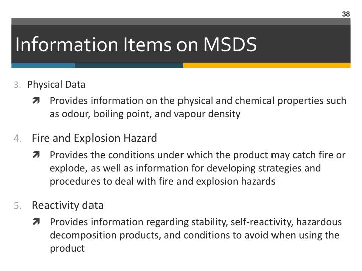 Information Items on MSDS