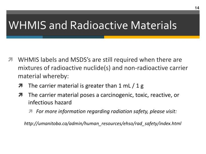 WHMIS and Radioactive Materials
