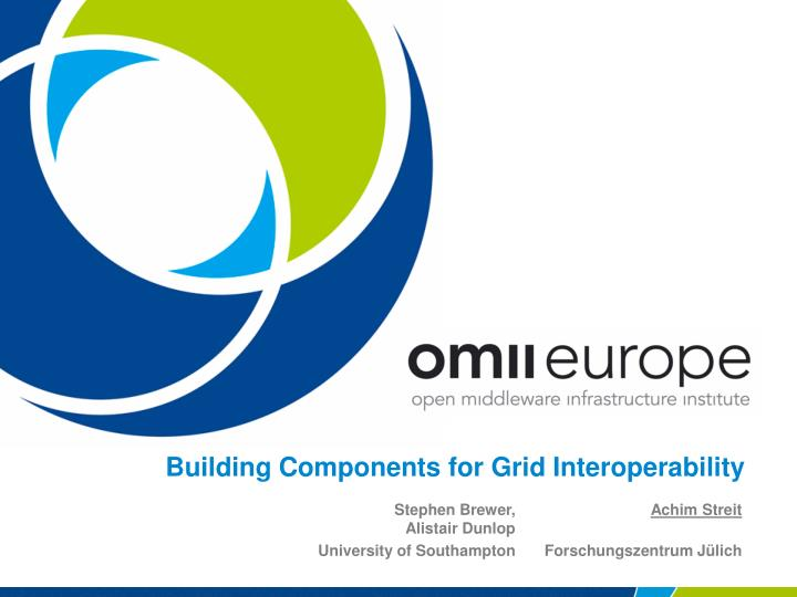 building components for grid interoperability n.