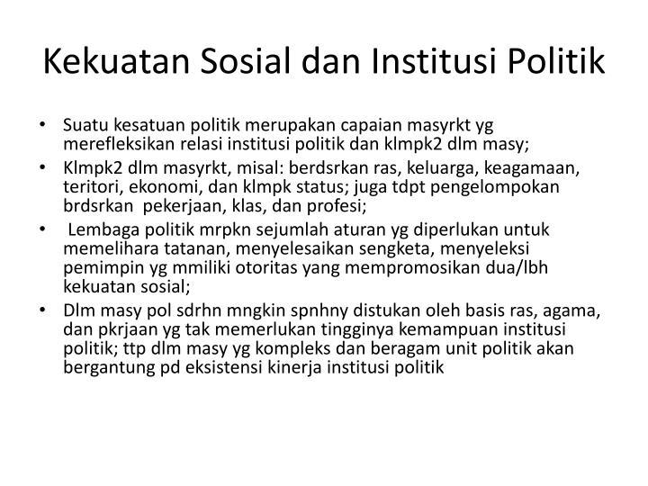 Kekuatan sosial dan institusi politik