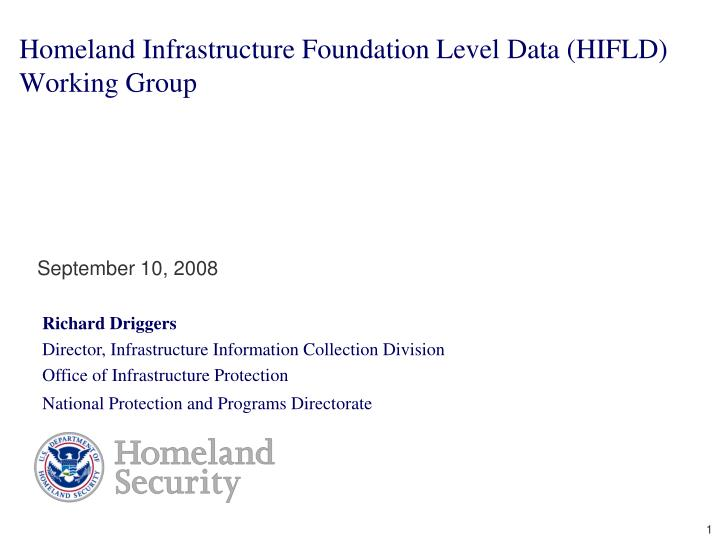 homeland infrastructure foundation level data hifld working group n.
