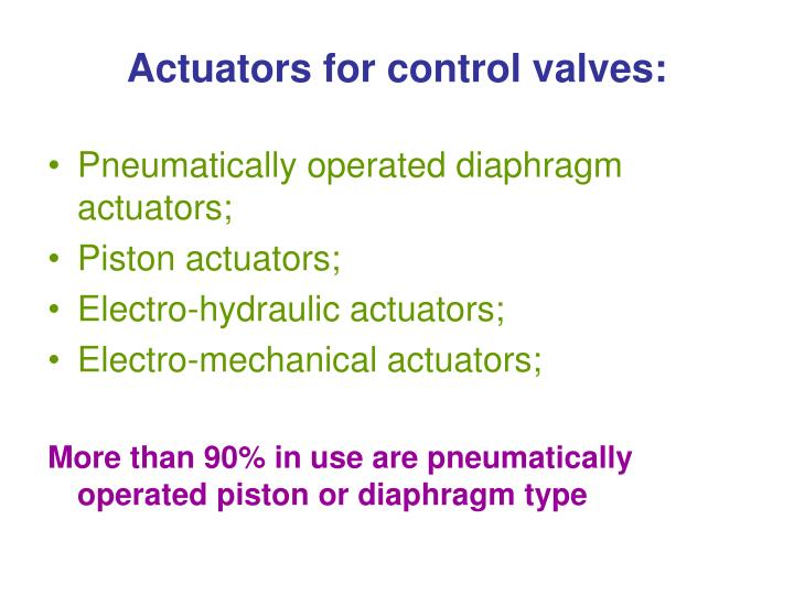 Actuators for control valves: