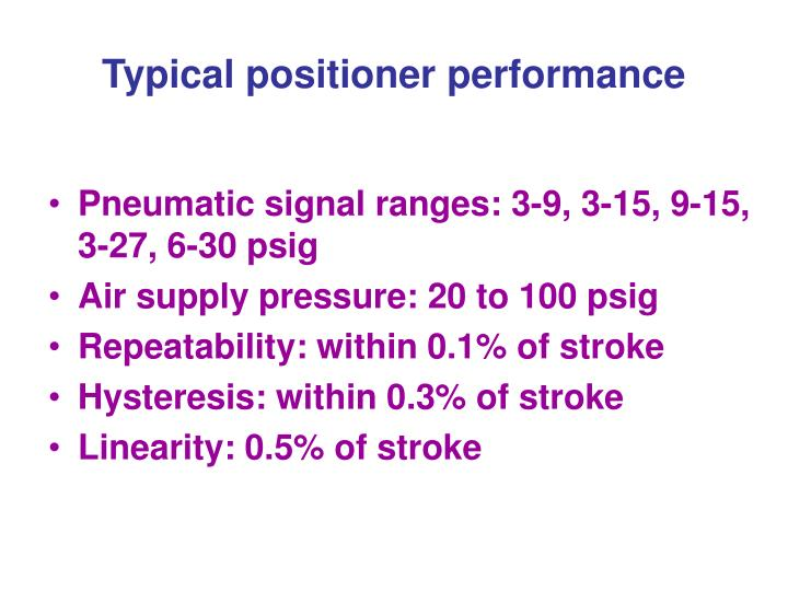 Typical positioner performance