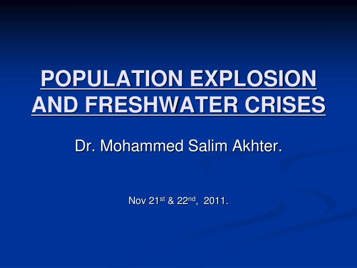 population explosion and freshwater crises n.