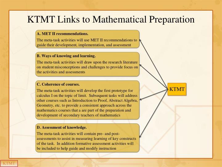 KTMT Links to Mathematical Preparation