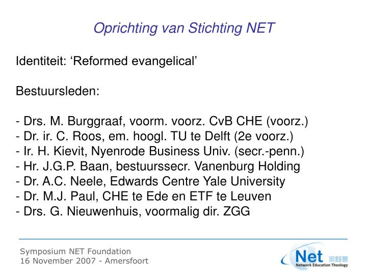 Oprichting van Stichting NET