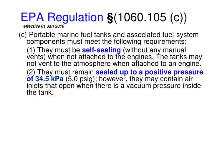 Epa regulation 1060 105 c