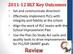 2011 12 blt key outcomes