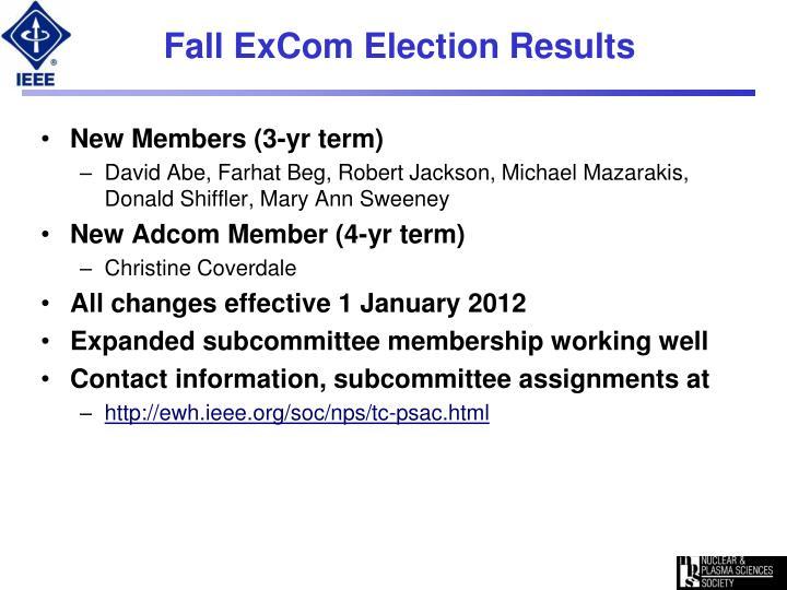 Fall excom election results