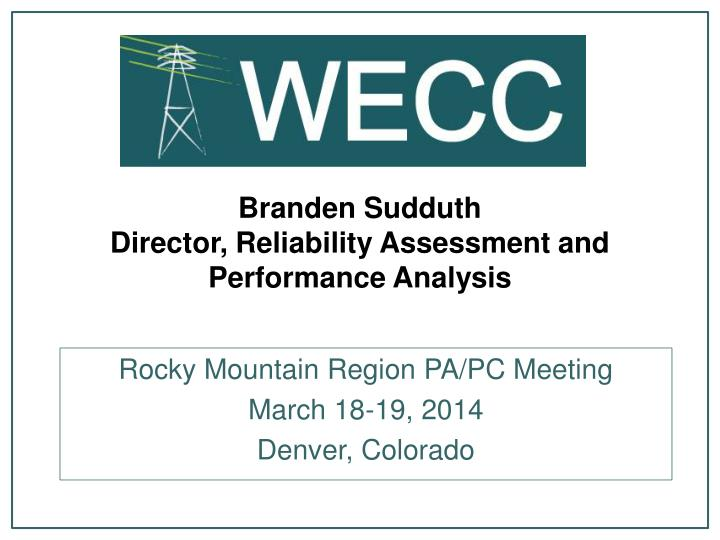 branden sudduth director reliability assessment and performance analysis n.