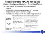 reconfigurable fpgas for space product development strategies present and future