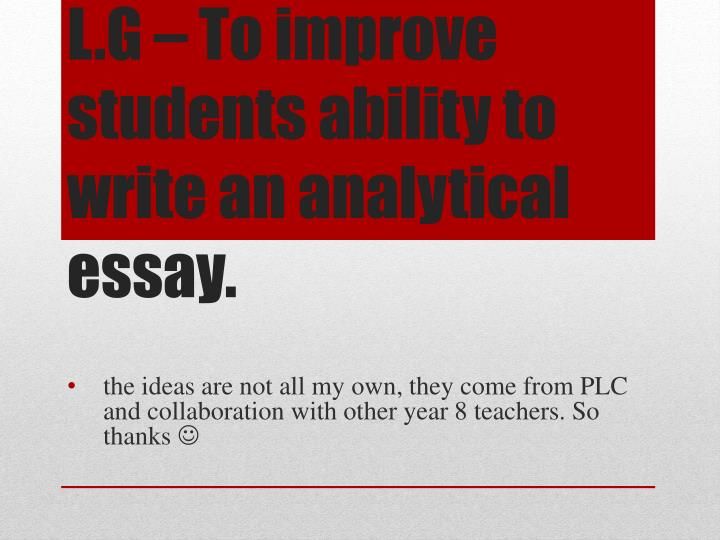 improving students ability in writing analytical