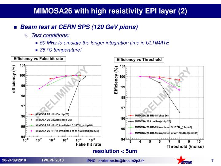 MIMOSA26 with high resistivity EPI layer (2)