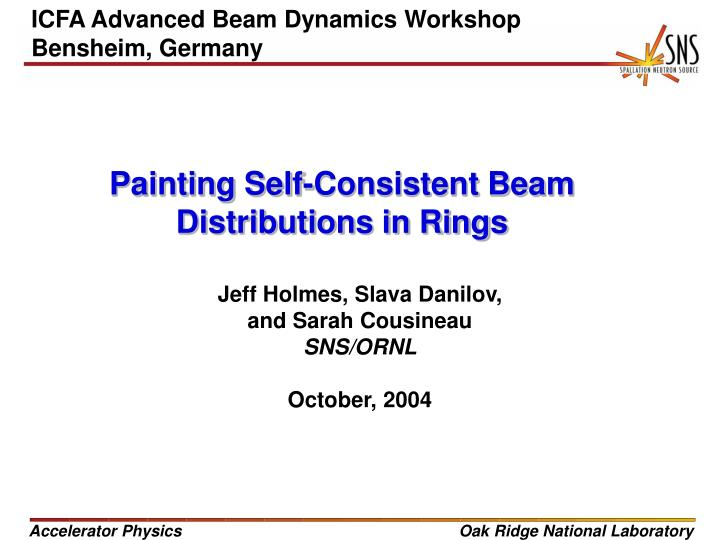 painting self consistent beam distributions in rings n.