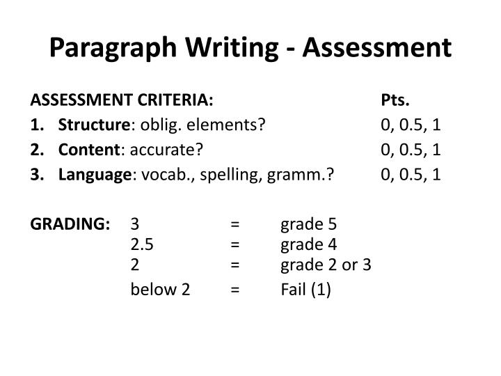 Paragraph Writing - Assessment