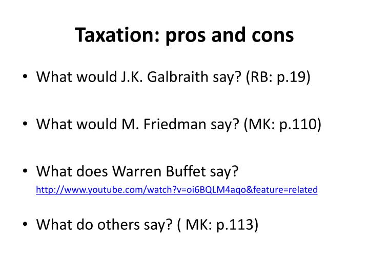Taxation: pros and cons