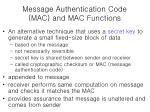 message authentication code mac and mac functions