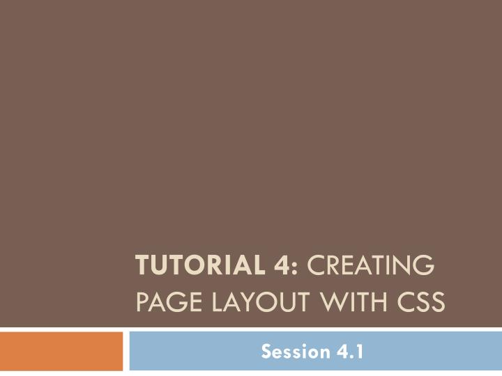 tutorial 4 creating page layout with css n.