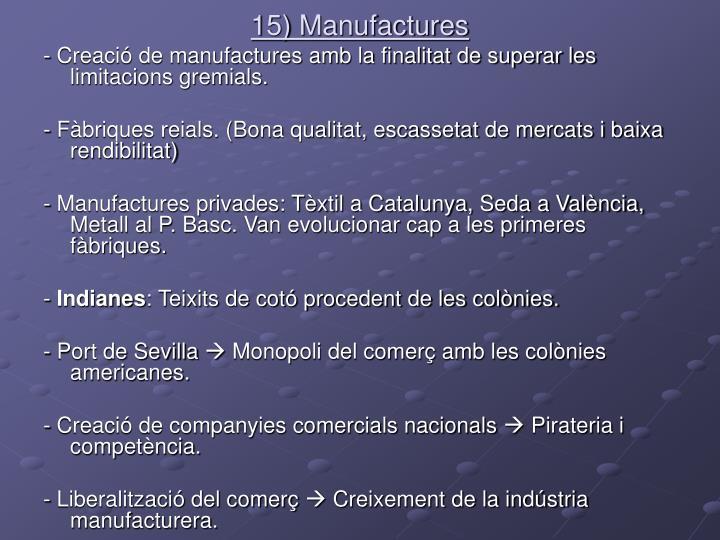 15) Manufactures