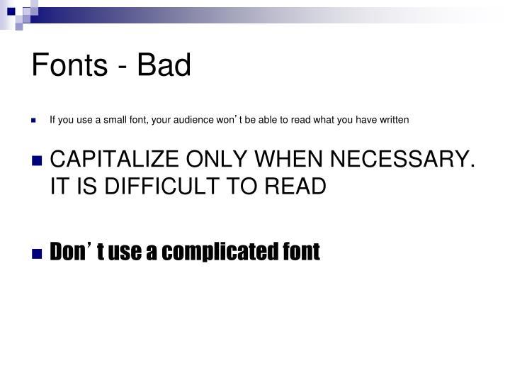 Fonts - Bad