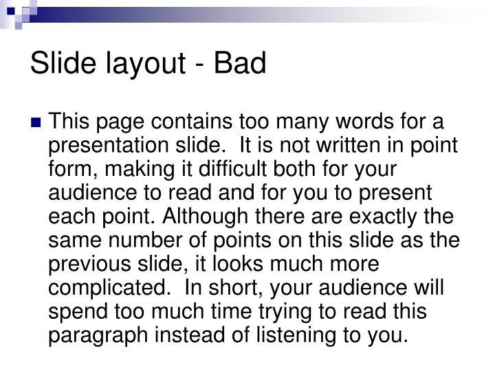 Slide layout - Bad